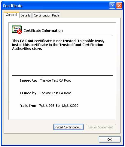 Installing a Trusted Root Certificate in Windows XP Professional