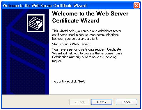 Installing a Server Certificate in IIS 5.1 on Windows XP Professional
