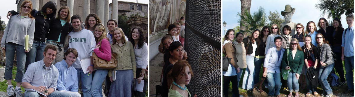 Photos of Dartmouth students at various locations in Rome