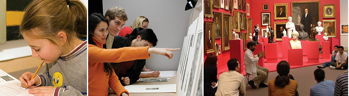 Photo collage of child drawing, public lecture, and students studying