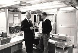 George Stibitz (L) and Tom Kurtz in Kiewit Machine Room