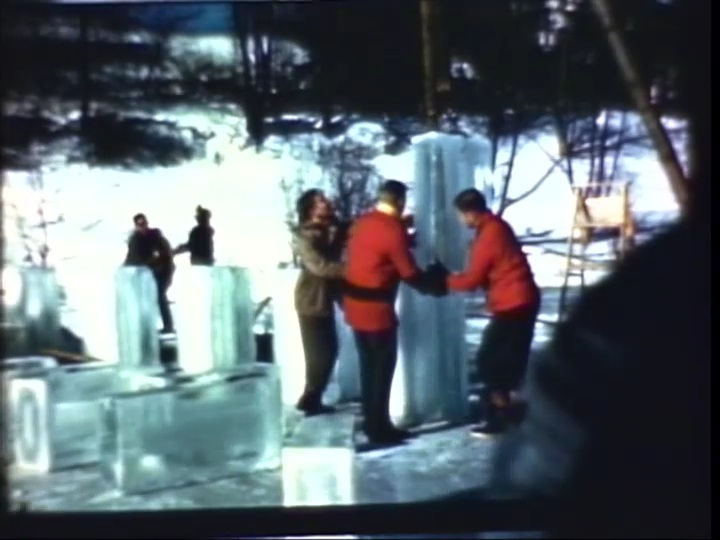 Building snow sculpture, 1947