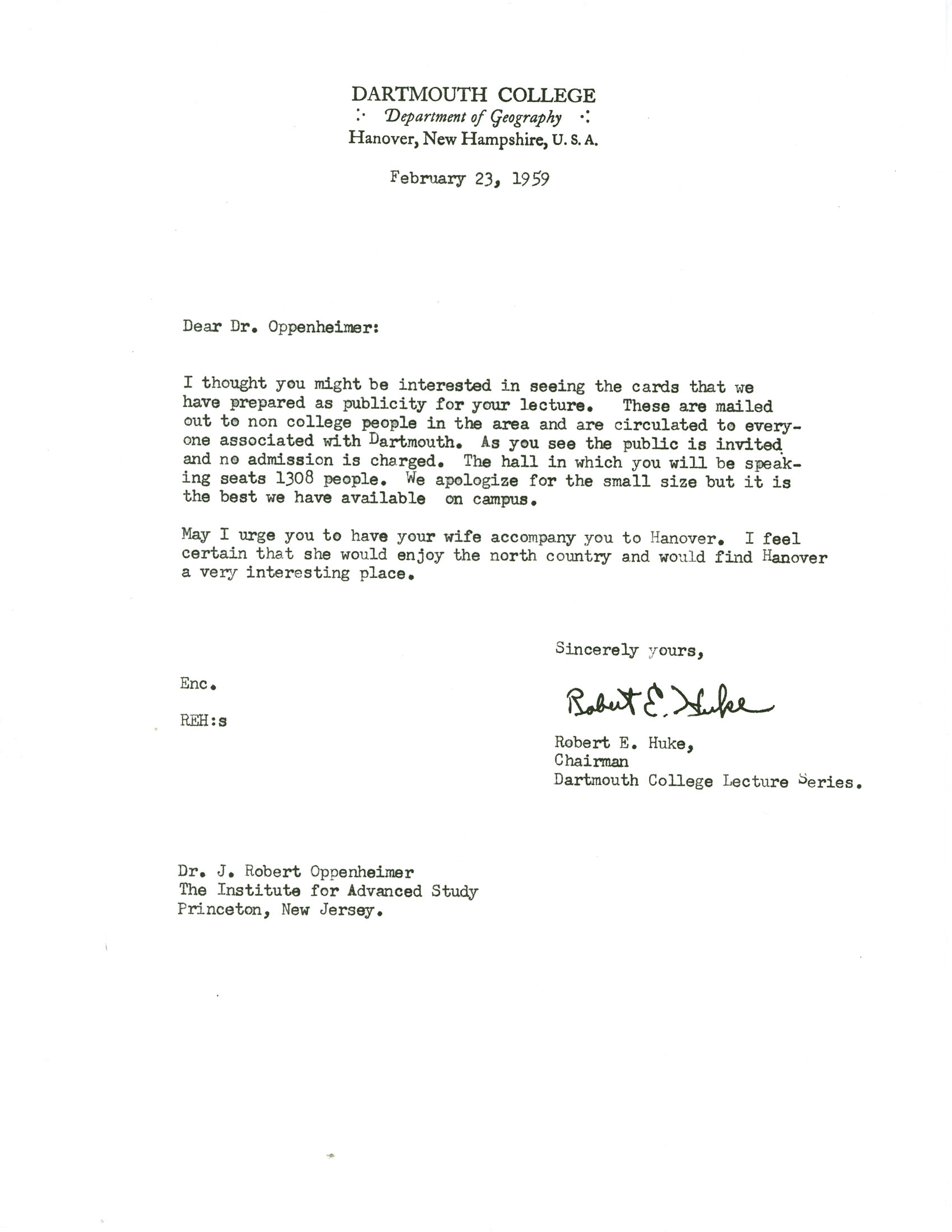 Letter From Robert Huke Dartmouth College To Robert Oppenheimer