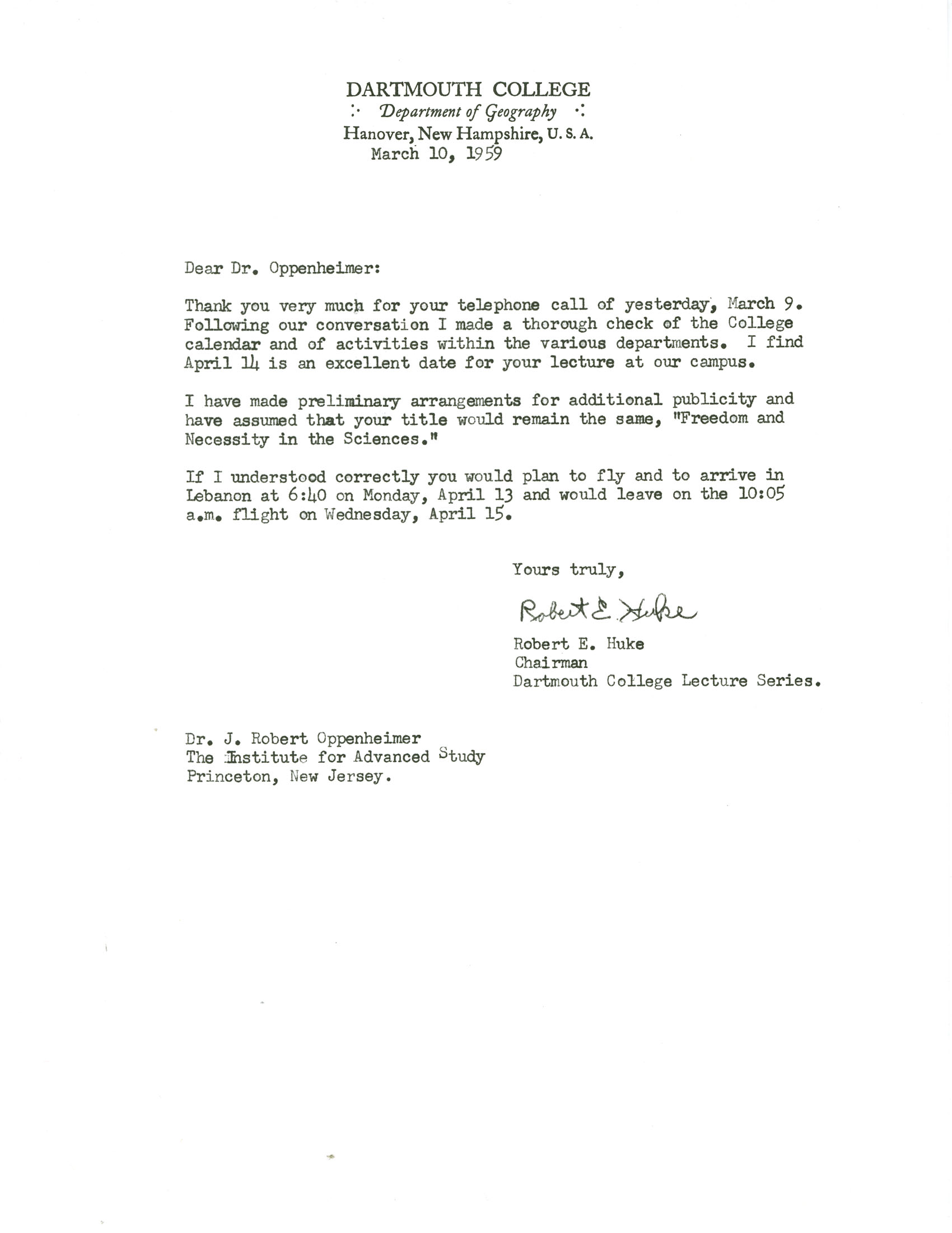 Letter from robert huke dartmouth college to robert oppenheimer letter from robert huke dartmouth college to robert oppenheimer princeton university 10 march 1959 madrichimfo Image collections