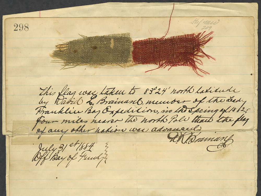fragment of the flag carried to the 'Farthest North' by Brainard