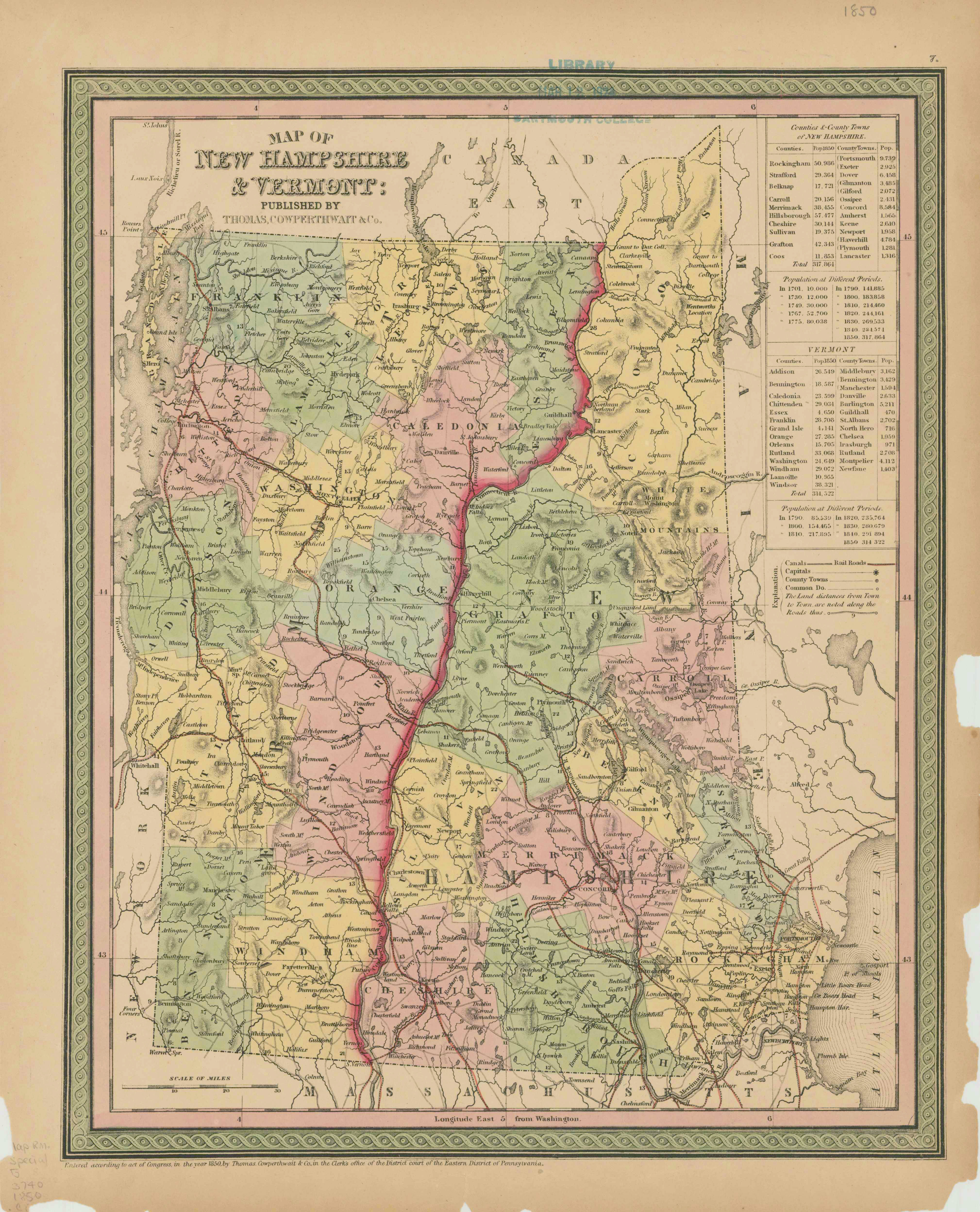 1850 New Hampshire map