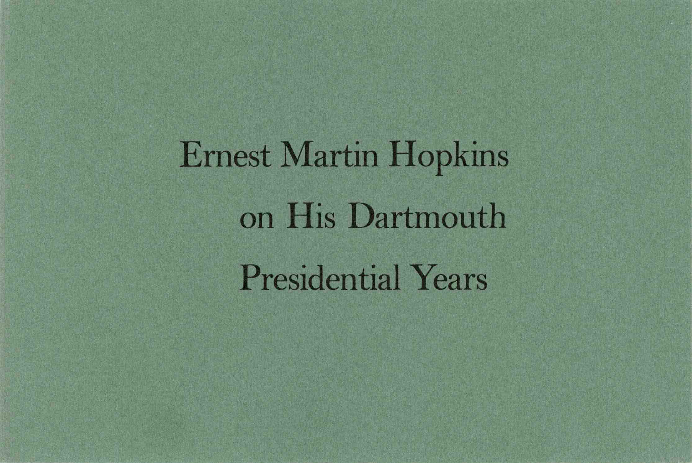 cover of Hopkins on His Dartmouth Presidential Years
