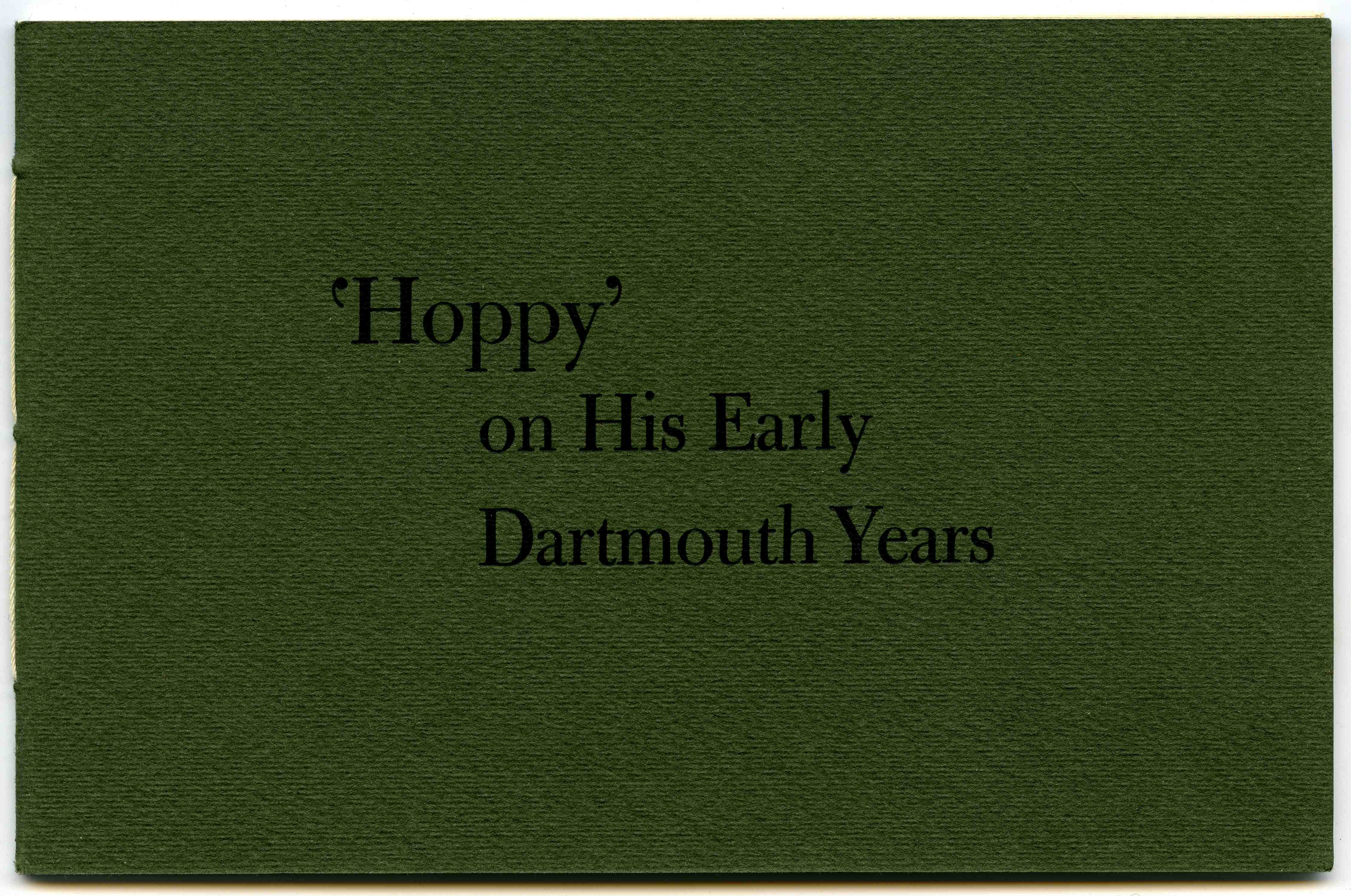 cover of 'Hoppy' on His Early Dartmouth Years