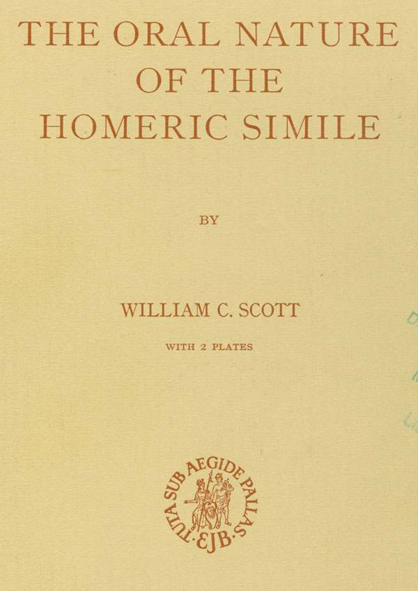 cover of The Oral Nature of the Homeric Simile