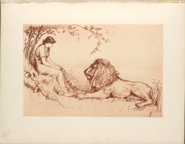 Lion Etching