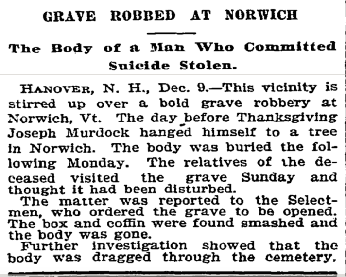 NYT article grave robbing