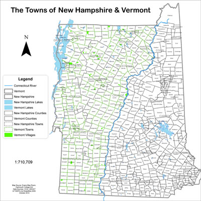 Maps Created Using GIS - Map of new hampshire towns