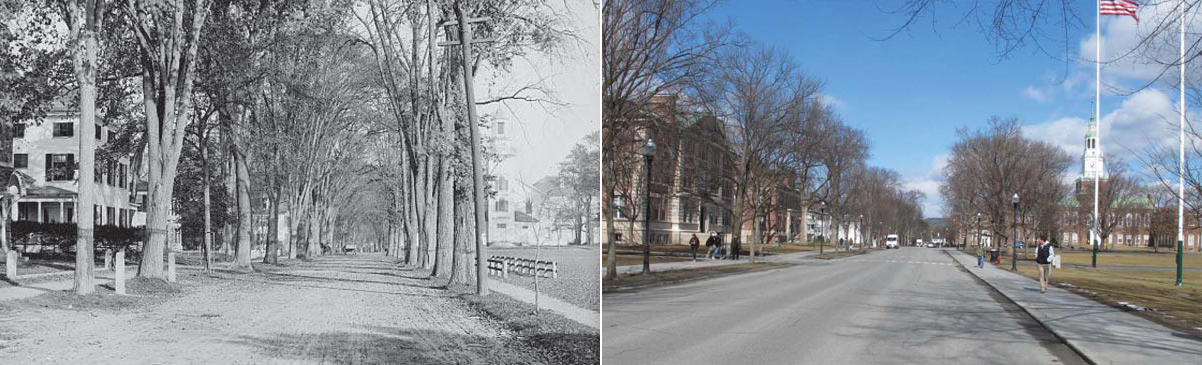 View of North Main Street, circa 1900 (left) and current (right)