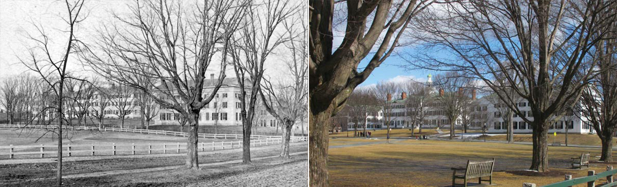 View of the Green, circa 1870 (left) and current (right)