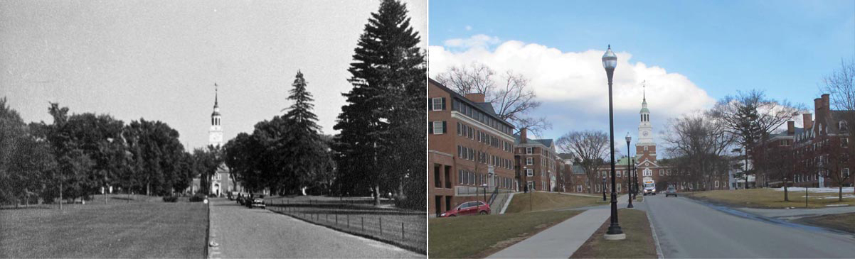 View of Baker Library, circa 1935 (left) and current (right)