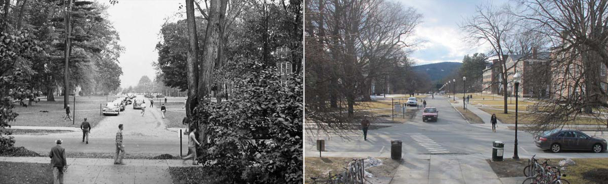 View of Tuck Mall from Baker Library, date unknown (left) and current (right)