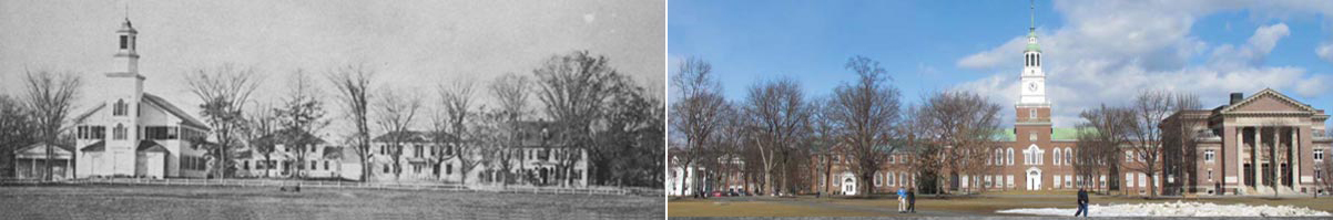 View of the Green, circa 1895 (left) and current (right)