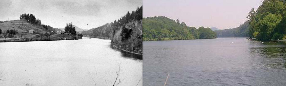 View of the Connecticut River, circa 1890 (left) and current (right)