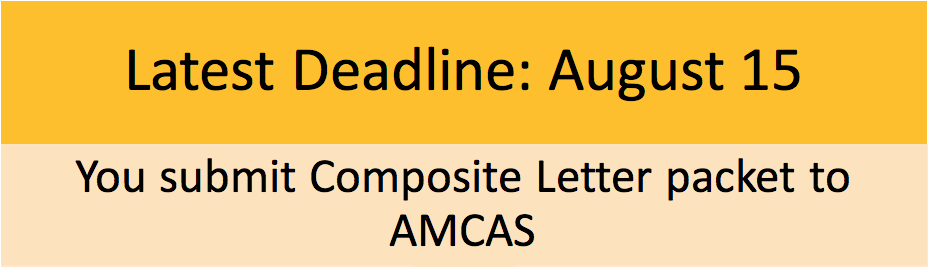 Latest Deadline August 15th Evaluation Letter= You submit Composite Letter packet to AMCAS. Please click here for more information on tasks to do by Aug 15th.