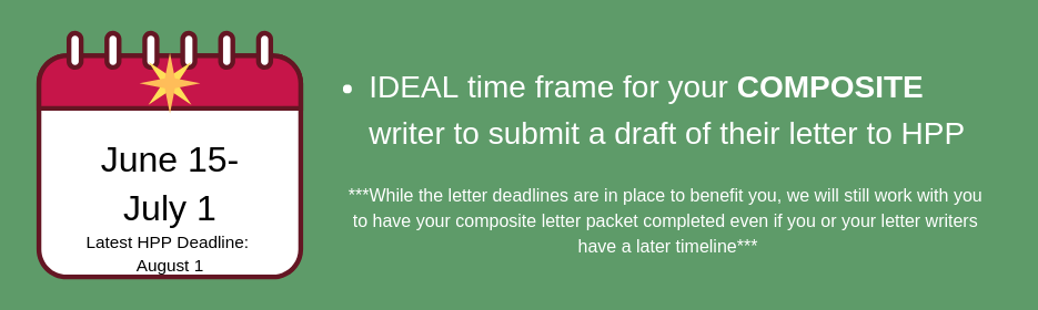 june 15 to july 1. ideal timeframe for composite writers to send letters to HPP