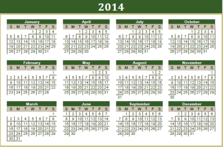 2014 reference calendar