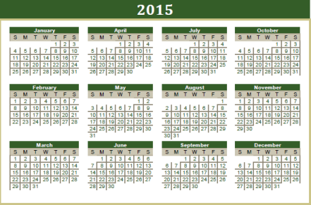 2015 reference calendar
