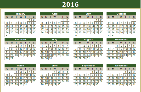 2016 reference calendar