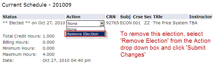 elected courses with action drop down