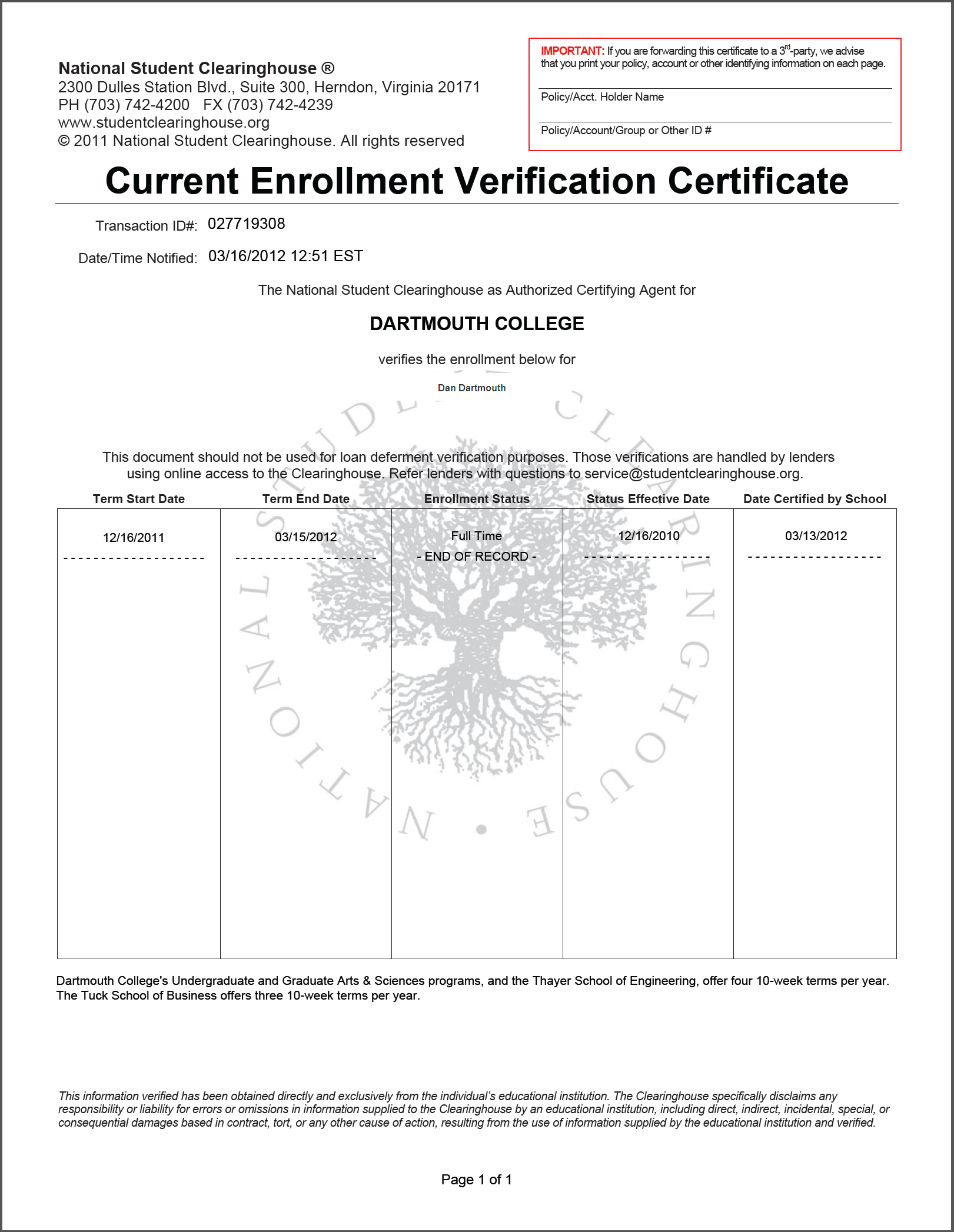 Enrollment verification click here to see a sample yadclub Choice Image