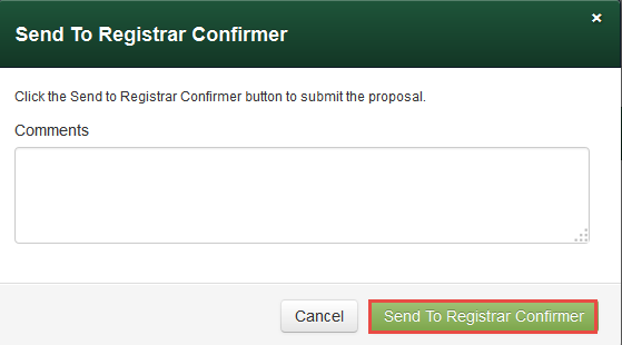 Send to Registrar Confirmer
