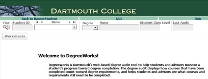 DegreeWorks Main Page