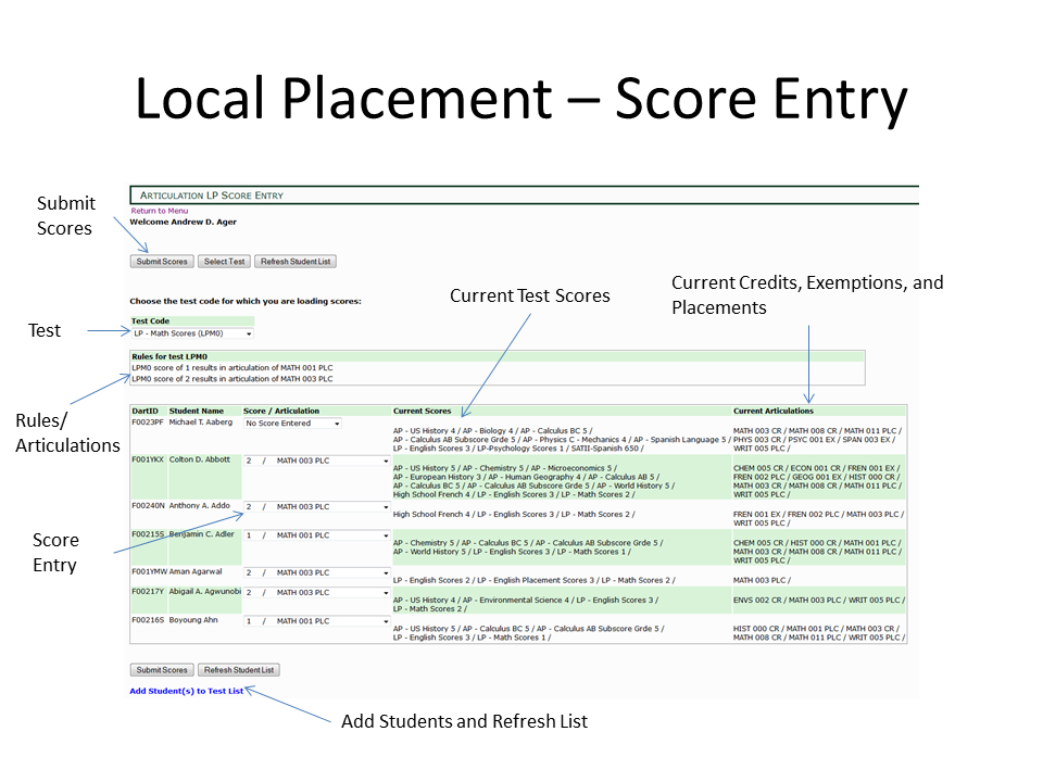 local placement test score entry guide