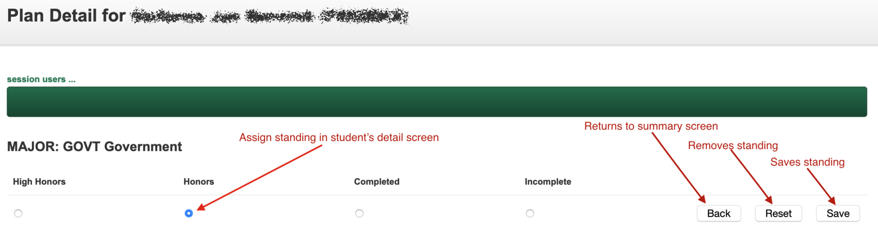 assign status student detail screen
