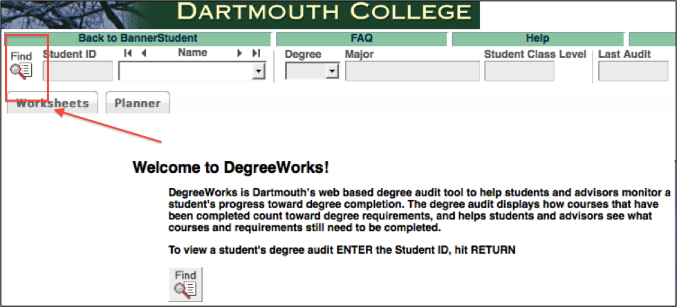 DegreeWorks Find Tool