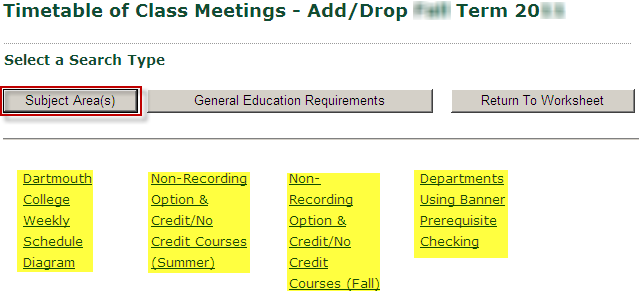Search Timetable by Subj or Gen Ed Requirements