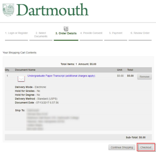 how to order transcripts on parchment