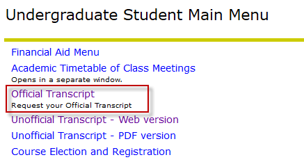 current students transcript orders