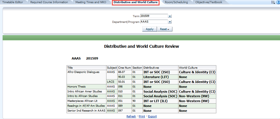 Distributive and World Culture tab