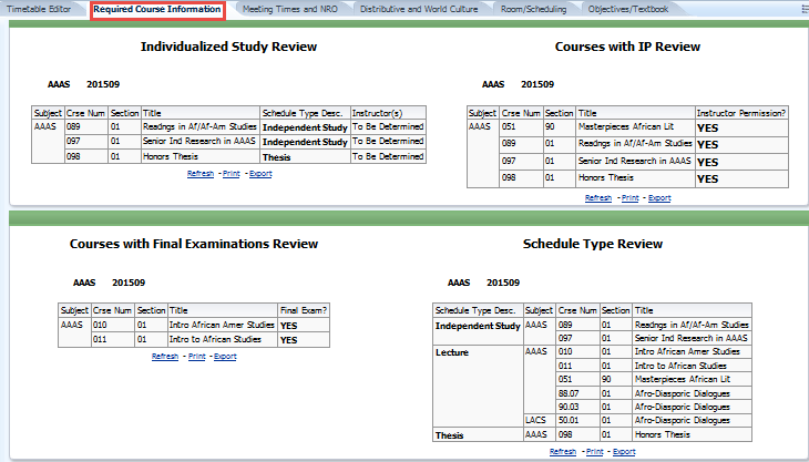 Required Course Information tab
