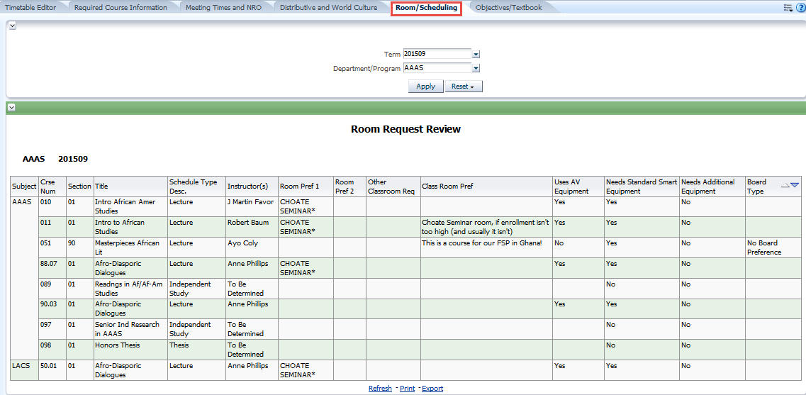 Room/Scheduling tab