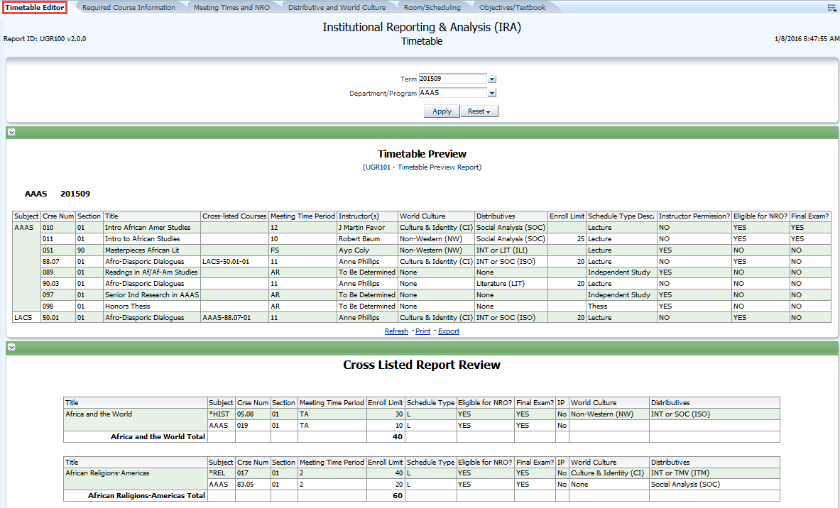 Timetable Editor – Proofing and Correction Reports Guide