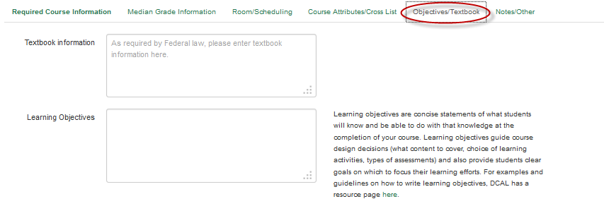 Textbook and Learning Objectives