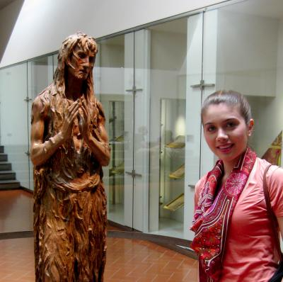 Statue and student