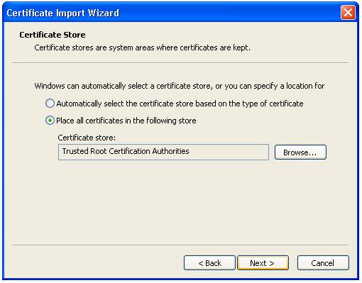 Adding a Trusted CA Certificate to the Computer's Certificate